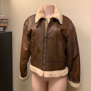 Jackets & Blazers - Brown leather bomber jacket with faux fur lining